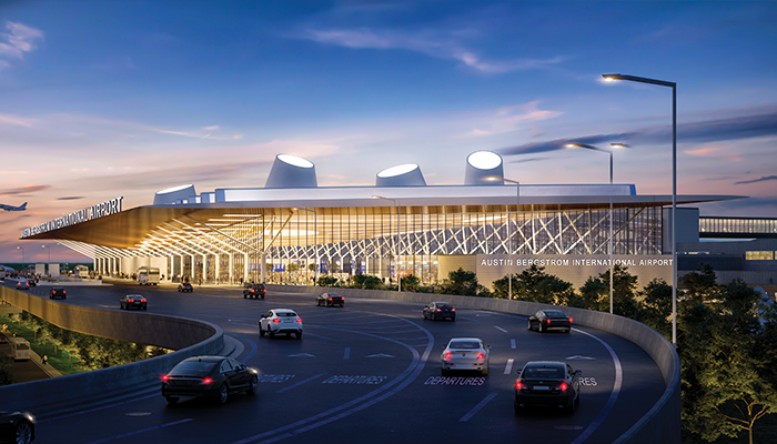 Image is of the exterior of Austin Bergstrom International Airport